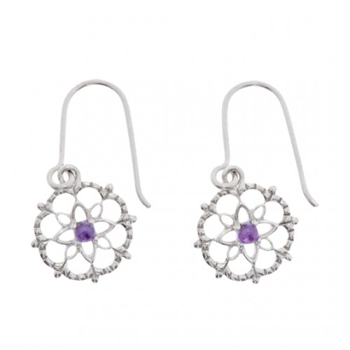 FLOWER-Ohrring Amethyst